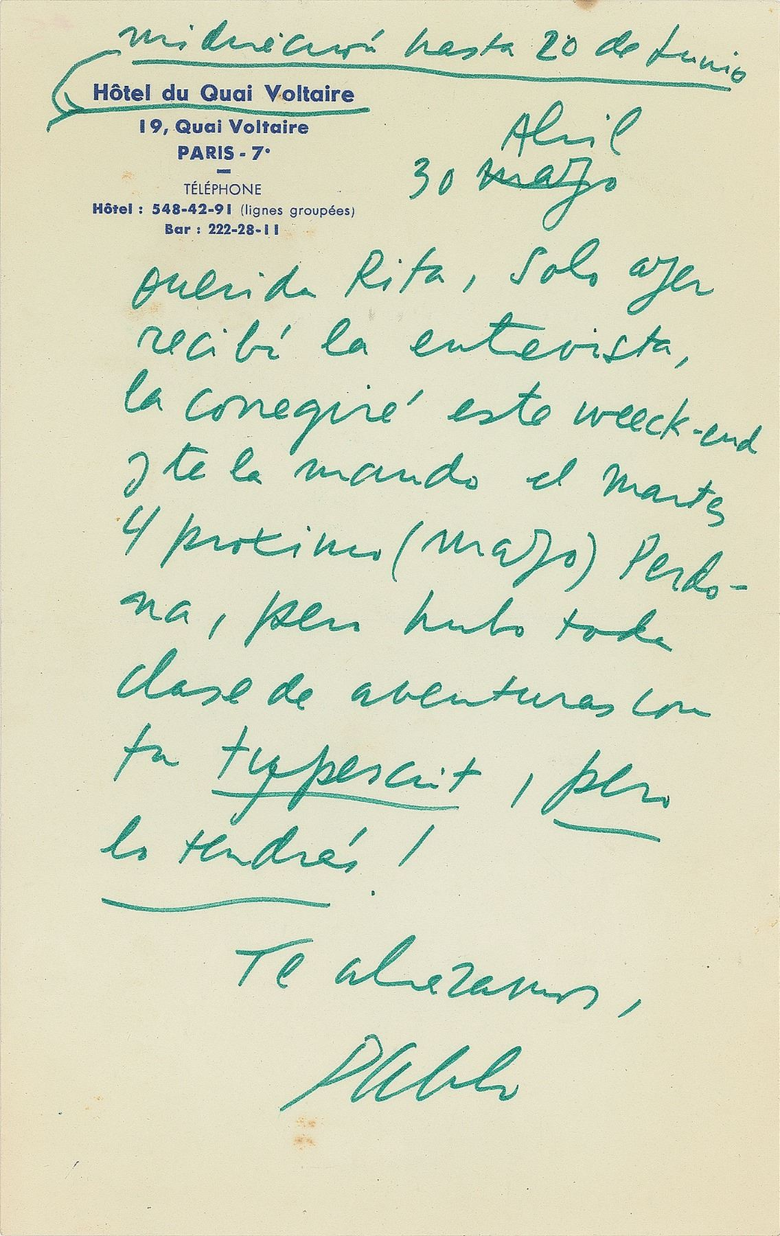 scan of a letter by Pablo Neruda